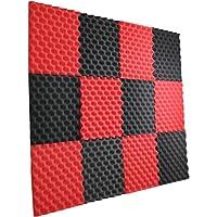 "12 Pack- Red/Charcoal Acoustic Panels Studio Foam Egg Crate 1"" X 12"" X 12"""