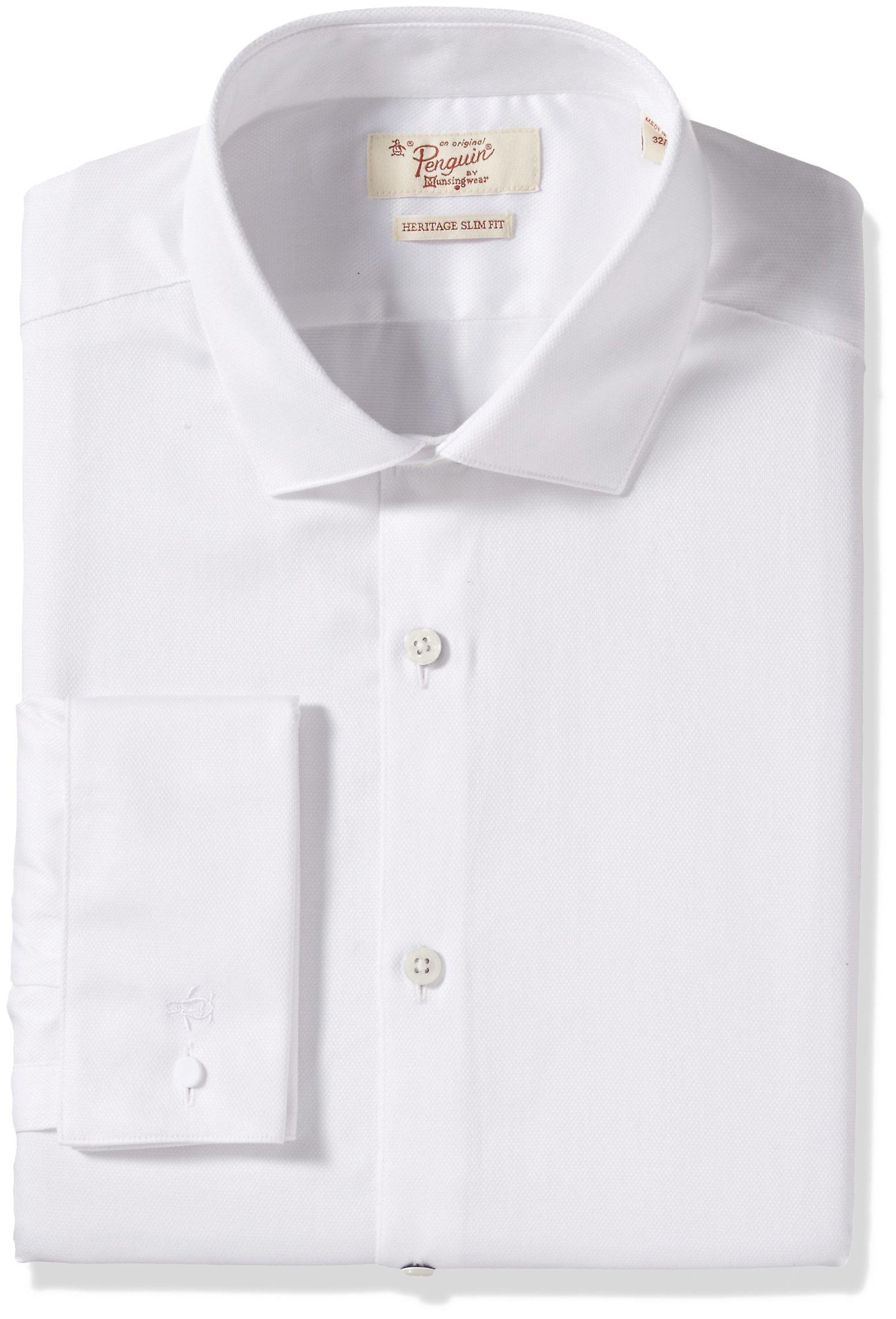 Original Penguin Men's Slim Fit Performance Dress Shirt, White, 16 34/35