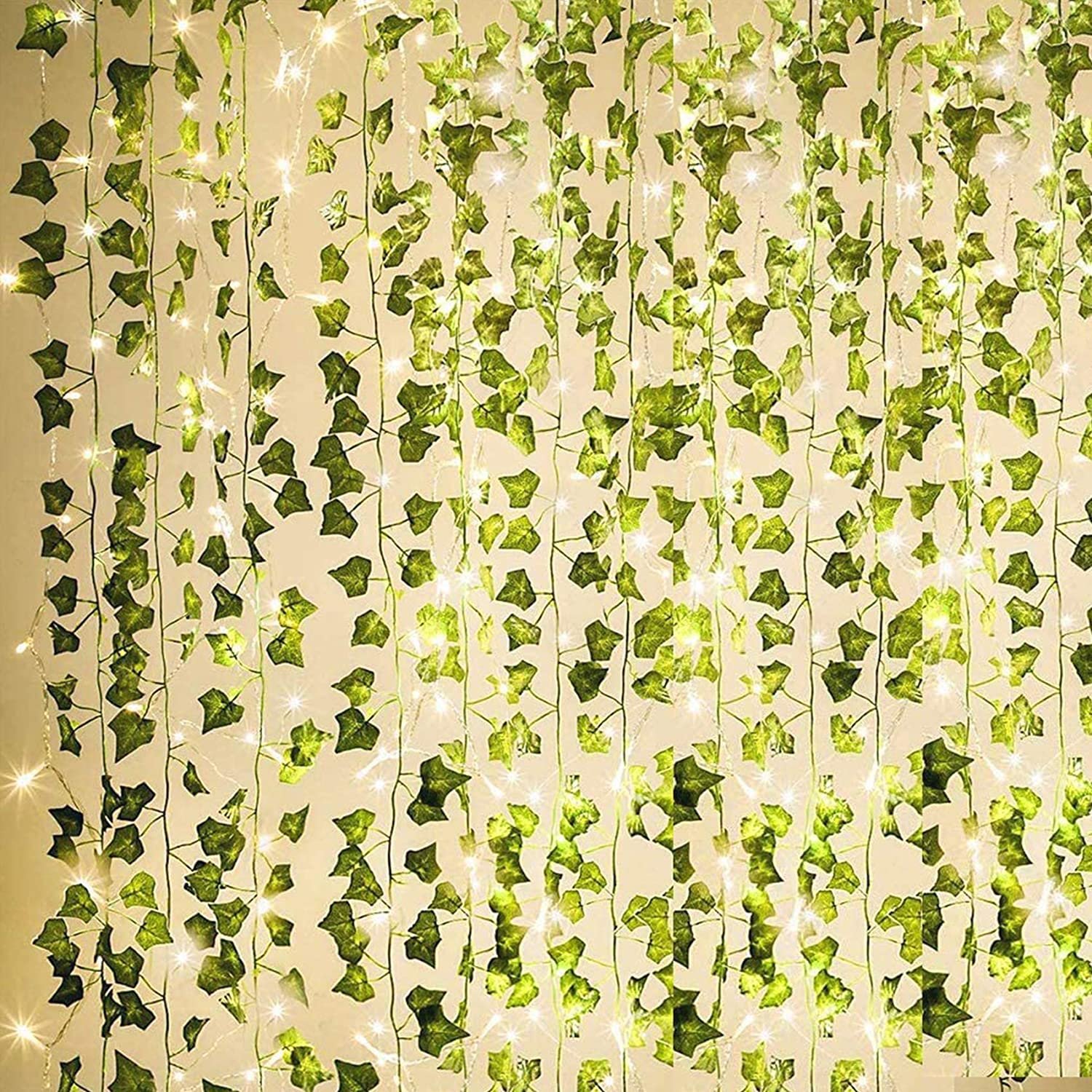 KASZOO 84Ft 12 Pack Artificial Ivy Garland Fake Plants, Vine Hanging Garland with 80 LED String Light, Hanging for Home Kitchen Garden Office Wedding Wall Decor, Green