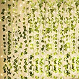 KASZOO 84Ft 12 Pack Artificial Ivy Garland Fake Plants, Vine Hanging Garland with 80 LED String Light, Hanging for Home…