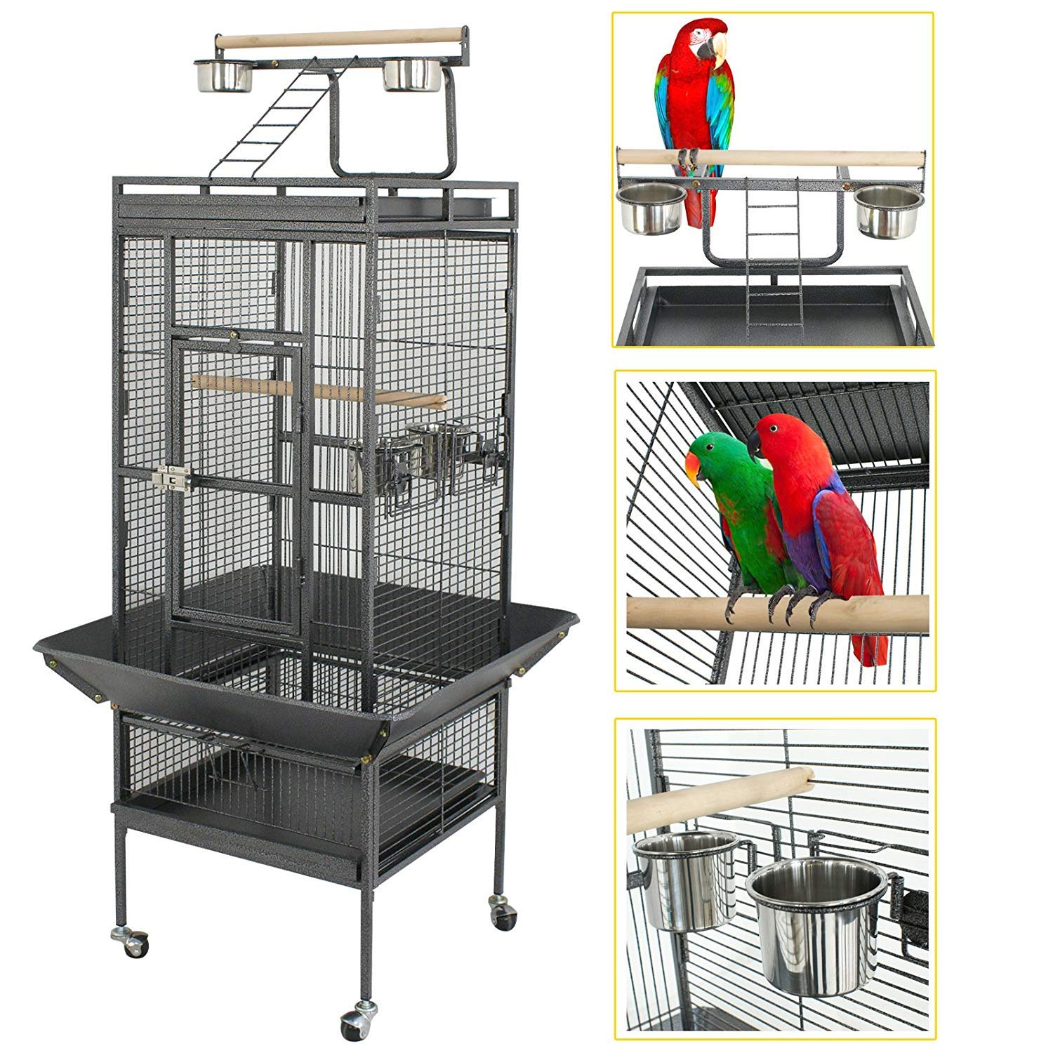 YOUKE Large Bird Cage with Play Top & Rolling Stand - Parrot Chinchilla Cage Macaw Cockatiel Cockatoo Pet House, 61 inch Wrought Iron by YOUKE