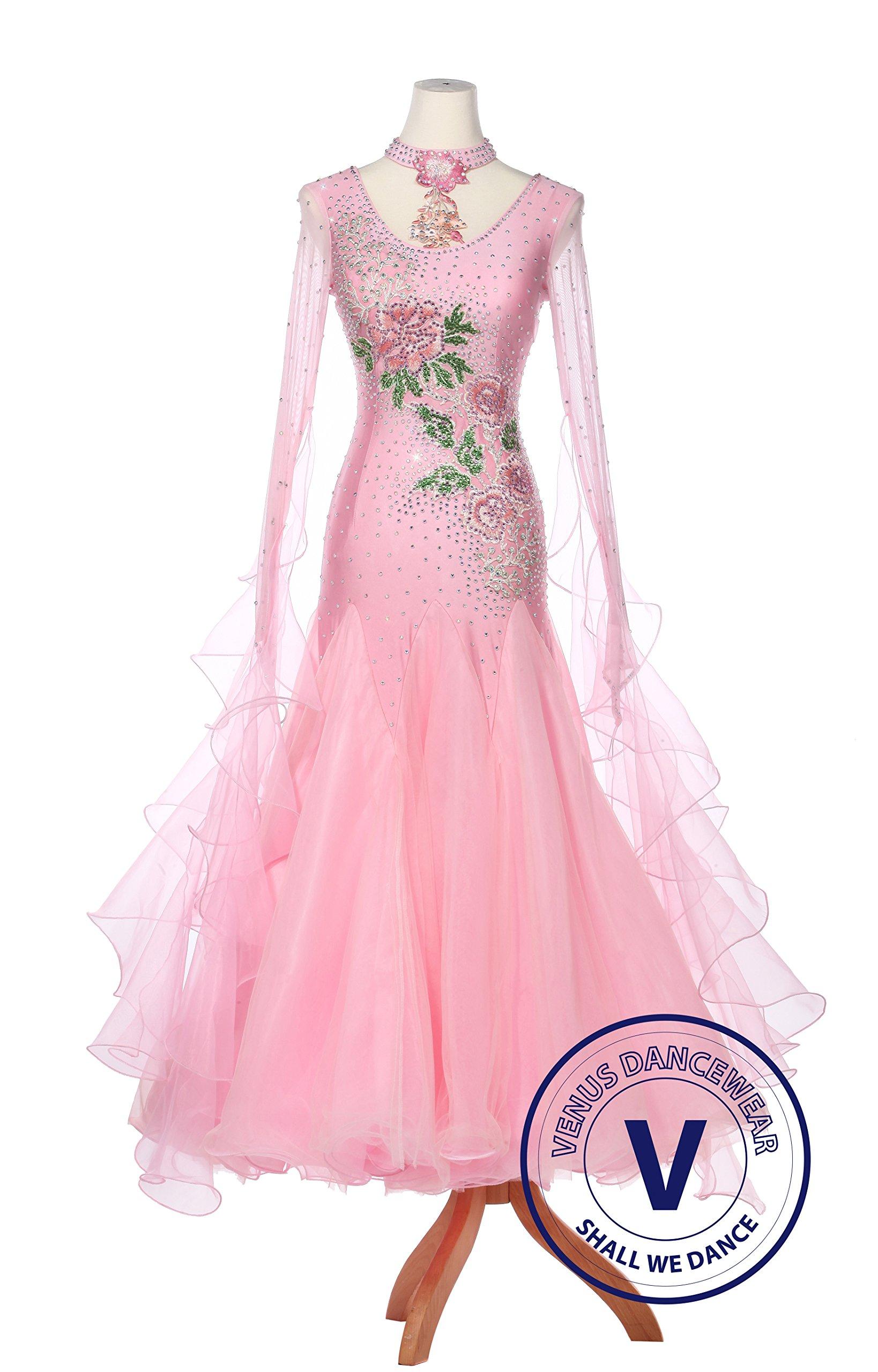 Pink PAEONIA Women Ballroom Smooth Waltz Standard Competition Dress by Venus Dancewear