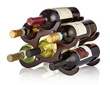 Amazoncom Adirhome Wooden Wine Rack 6 Bottle Cherry Home