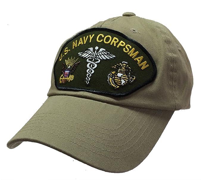 Corpsman Hat US Navy Marine Corps 100% Cotton Khaki