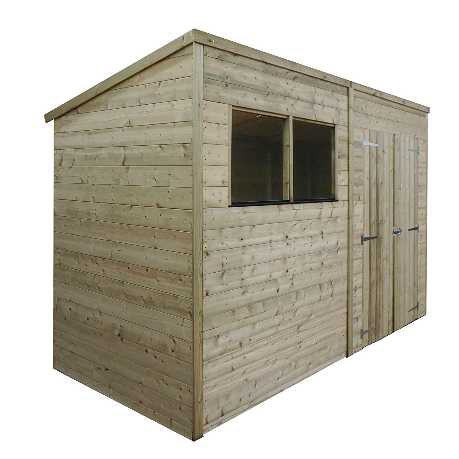 10x5 Pressure Treated Wooden Tongue And Groove Garden Storage Shed,  Windows, Double Door, Solid Sheet Board, Pent Roof, 10ft 5ft Free 3 5 Day  Delivery + 15 ...