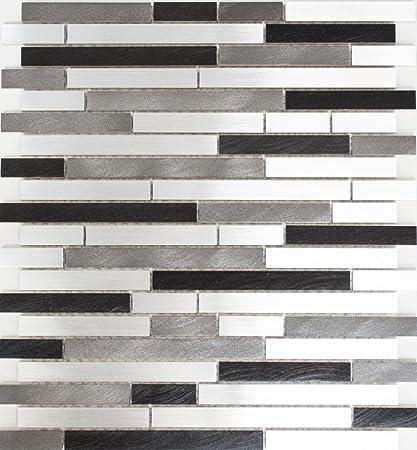 Alu Mix Alluminio Grigio Nero Alluminio Composito Di Rete Mosaico Mosaico Piastrelle Cucina E Bagno Piastrelle Specchio Parete In Metallo Amazon It Fai Da Te