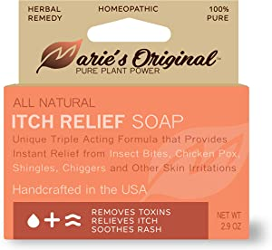 Marie's Original Itch Relief Soap Body Wash Bar - All Natural Instant Relief from Insect Bites, Chicken Pox, Chiggers and Other Skin Irritations ie. Eczema, Anti- Itch Calming Soap