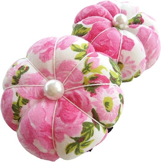 2X Pink Wrist Flower Floral Garden Pin Needle Cushion Pincushion Wearable Cute Small Pumpkin Pins Needles Pincushions Holder Safety Adjustable Elastic Band for Sewing Girl Women Handmade Quilting