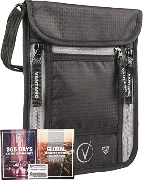 Vantamo Neck Wallet Travel Pouch and Passport Holder
