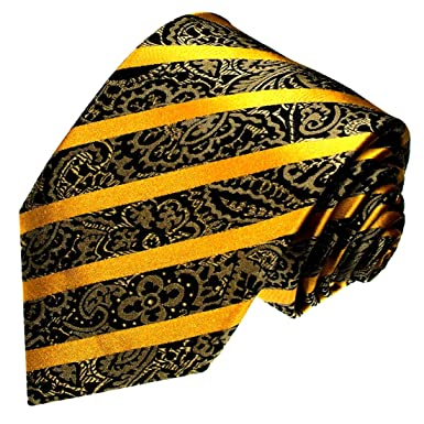 a2c5e5813c69 Image Unavailable. Image not available for. Color: LORENZO CANA Luxury  Italian 100% Silk Tie Gold Black Yellow Paisley ...