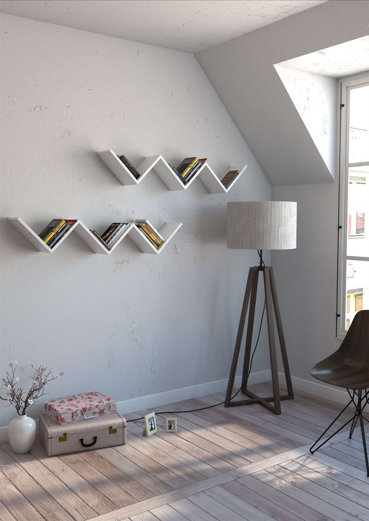 ZigZag Wall Shelf, 100% Melamine Coated Particle Board - White Wavy Shaped, Zig Zag - Size (50.6'' x 9.8'' x 7.9''), Easy to Hang with Invisible Brackets - Wall Mounted Floating Shelves for Home & Office