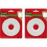 Scotch Brand 112L Permanent Mounting Tape, 1 Inch x 125 Inches, White, 2 Pack
