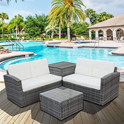 Sensational Amazon Com Kavai 4 Pcs Patio Sofa Set Outdoor Wicker Rattan Beatyapartments Chair Design Images Beatyapartmentscom