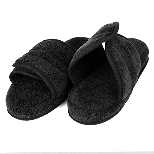 962cd2f710ed ... Women s Cozy Super Soft Premium Memory Foam 100% Cotton Cloth Open-Toe  Adjustable Slide House Washable Indoor   Outdoor Slippers with Anti-Skid  Sole