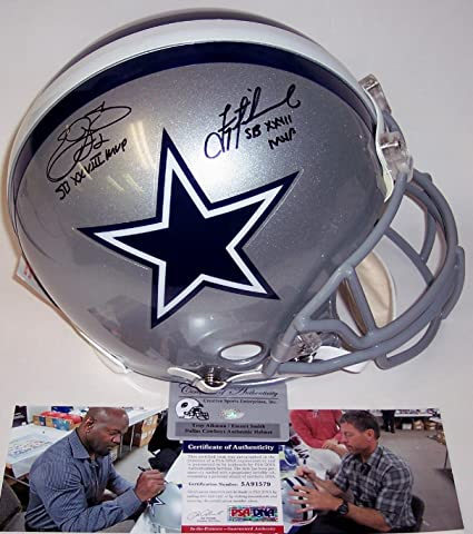 856c14133 Image Unavailable. Image not available for. Color  Emmitt Smith   Troy  Aikman Autographed Hand Signed Dallas Cowboys Full Size Authentic Football  Helmet -