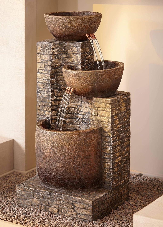 "Universal Lighting and Decor Mason Outdoor Floor Water Fountain Three Bowl Floor Cascade 35"" for Yard Garden Lawn - John Timberland"