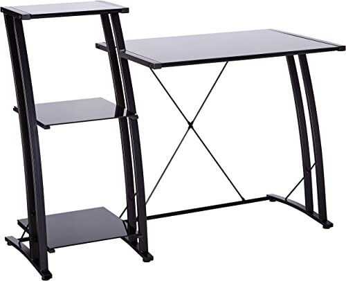 Tempered Glass L Shape Corner Desk With Pull Out Keybaord Panel. Color Clear
