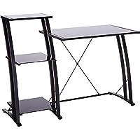 """Sauder 408687 Deco Tiered Desk, L: 47.64"""" x W: 20.47"""" x H: 36.02"""", Black/Black Glass"""