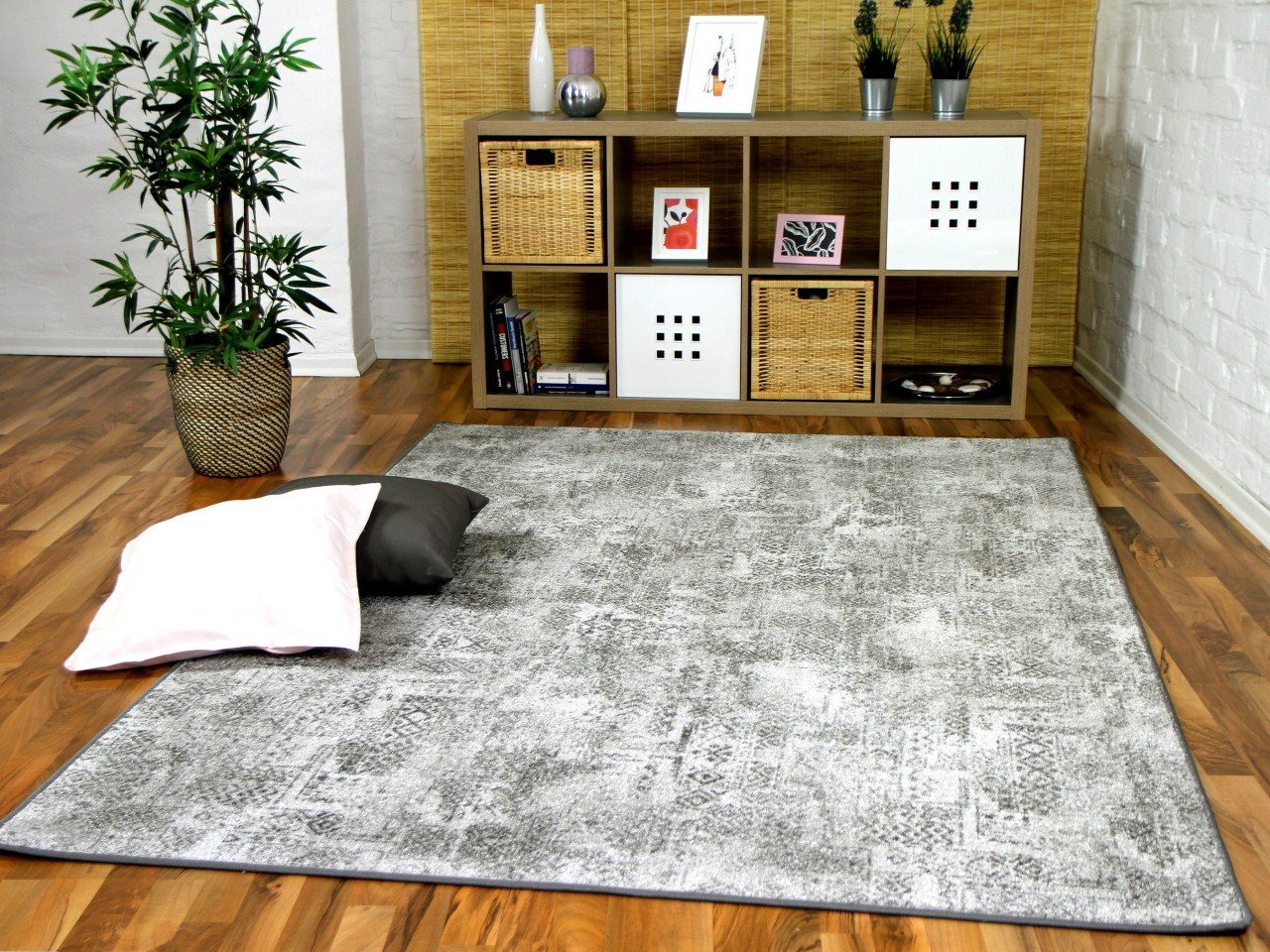 Designer Soft-Velours Teppich Vintage Grau in 24 Größen