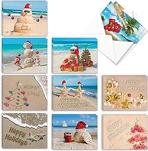 The Best Card Company - 20 Santa Christmas Note Cards (10 Designs, 2 Each) - Bulk Holiday Notecard Assortment (4 x 5.12 Inch) - Season's Beachin AM6651XSG-B2x10