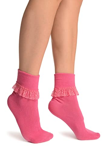 ef7d93fce9b Pink With Pink Lace Trim Ankle High Socks - Socks at Amazon Women s ...