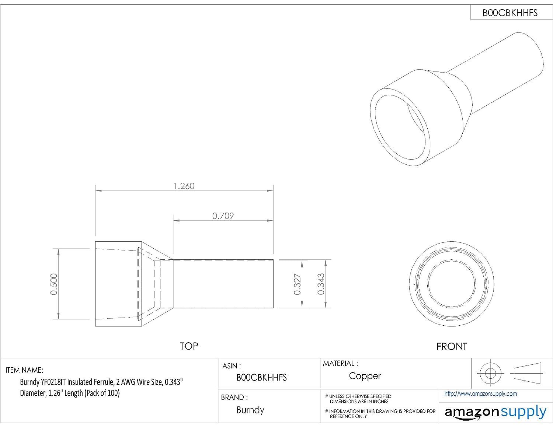 Burndy YF0218IT Insulated Ferrule, 2 AWG Wire Size, 0.343\