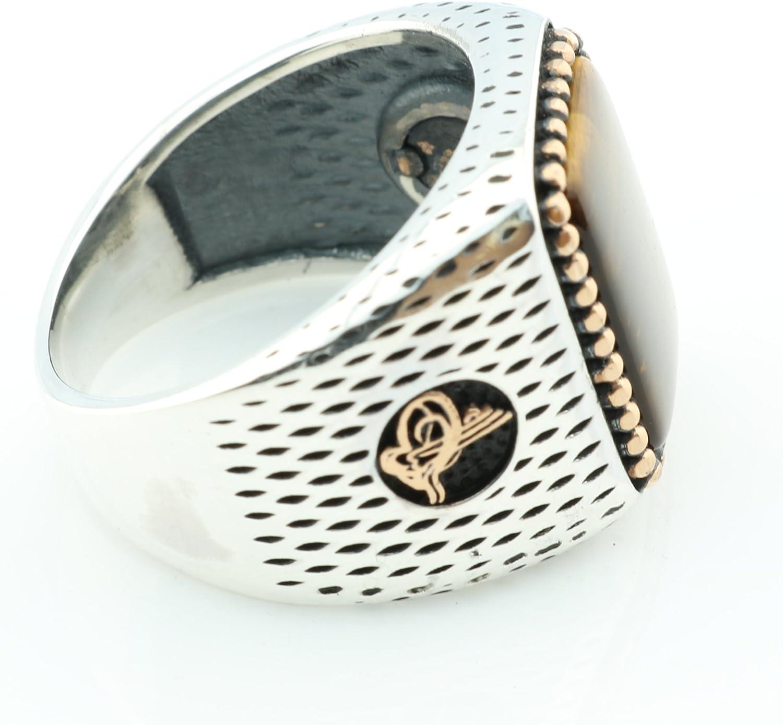 KAR 925K Stamped Silver Tiger Eye Ottoman Mens Ring K4J