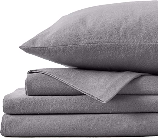 Amazon Com Great Bay Home Extra Soft 100 Turkish Cotton Flannel Sheet Set Warm Cozy Heavyweight Luxury Winter Deep Pocket Bed Sheets In Solid Colors Nordic Collection Queen Frost Grey Home Kitchen