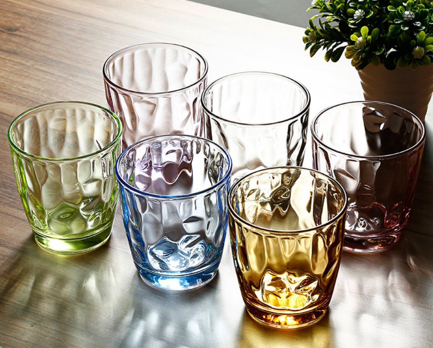 Glassware Drinkware Glass Cups Set - 6 PCS, Colorful Glasses Mugs Glasses Ware for Water and Drinking by YYVIGO (8.5OZ, Colorful)