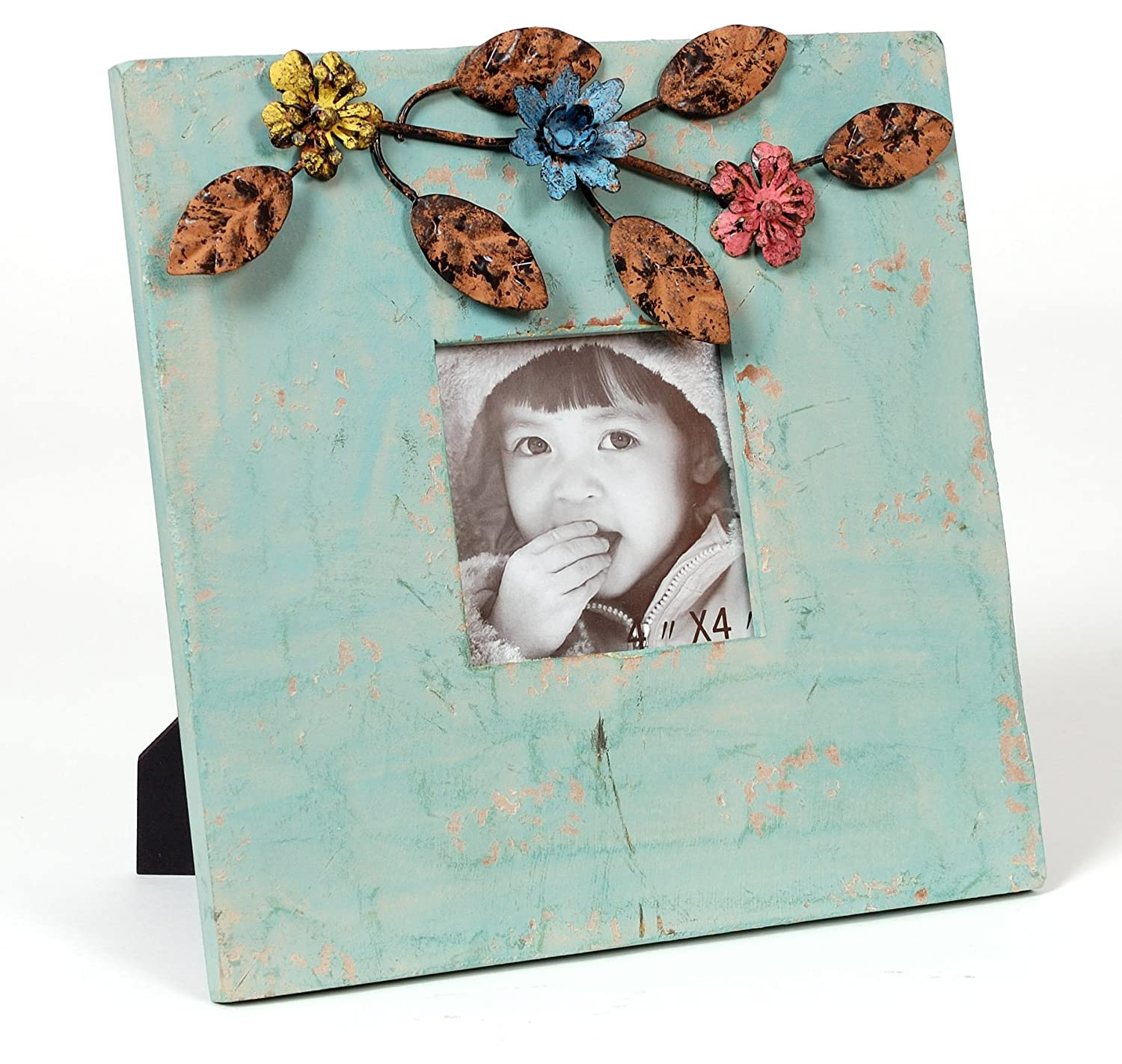 Wilco Imports Distressed Dusty Blue Color Wood Frame with Metal Floral Accents