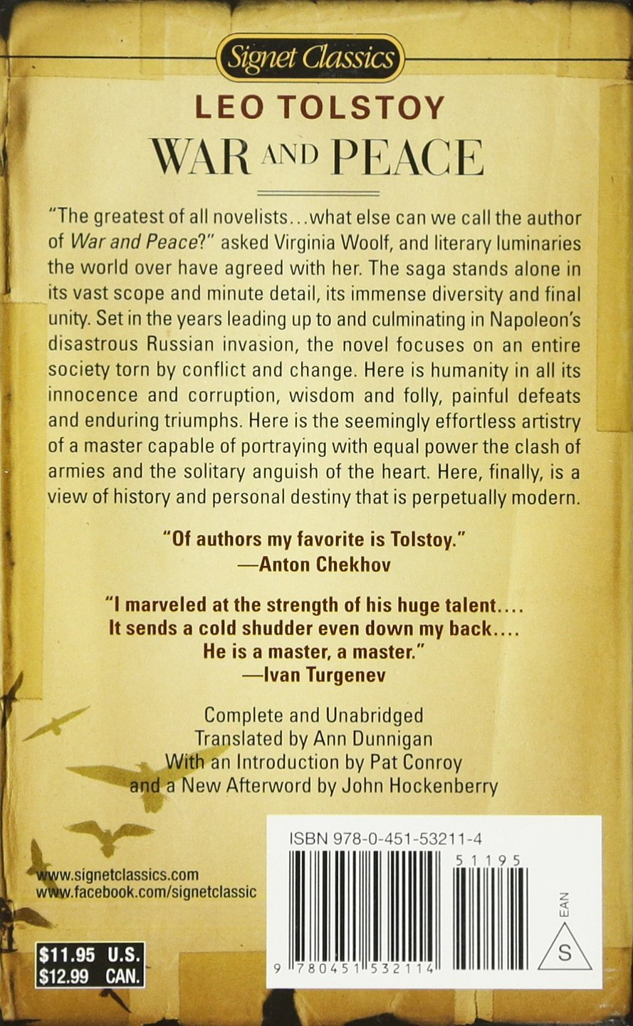 War And Peace (signet Classics): Leo Tolstoy, Pat Conroy, John Hockenberry:  9780451532114: Amazon: Books