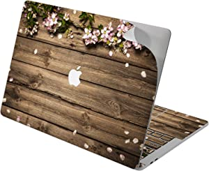 "Cavka Vinyl Decal Skin for Apple MacBook Pro 13"" 2019 15"" 2018 Air 13"" 2020 Retina 2015 Mac 11"" Mac 12"" Print Protective Floral Flowers Sticker Cherry Design Wood Nature Petals Cover Blossom Laptop"