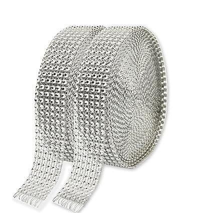 2pcs cinta de diamante hermosa KAKOO 6 fila 10 yardas / rollo de acrílico cintas de