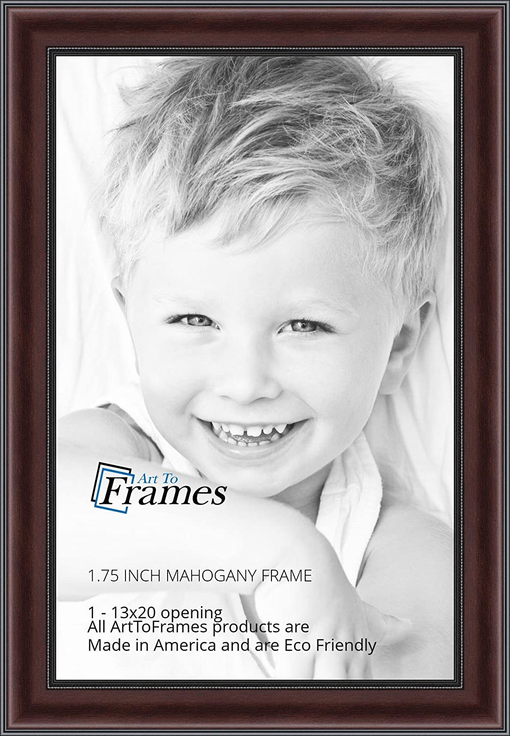 2WOMN9590-13x20 ArtToFrames 13x20 inch Mahogany and Burgundy with Beaded Lip Picture Frame
