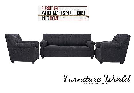 Furniture World Arica Sofa | Home Sofa Set | Sofa Set 3+1+1 | Living Room  Furniture| 5 seat Sofa Set | Sofa Set Jute in -Dark Grey Color