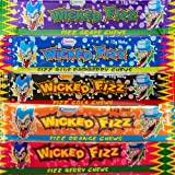Wicked Fizz Assorted Flavours 30 Bars - Berry Cola Grape Blue Raspberry Orange - Halloween Birthday Party Favours Candy Buffet Pinata Fillers Lollies Bulk Value Pack
