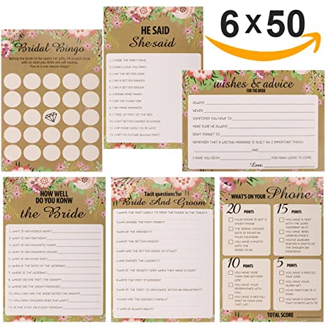 amazon com 6 pack floral bridal shower and wedding anniversary game