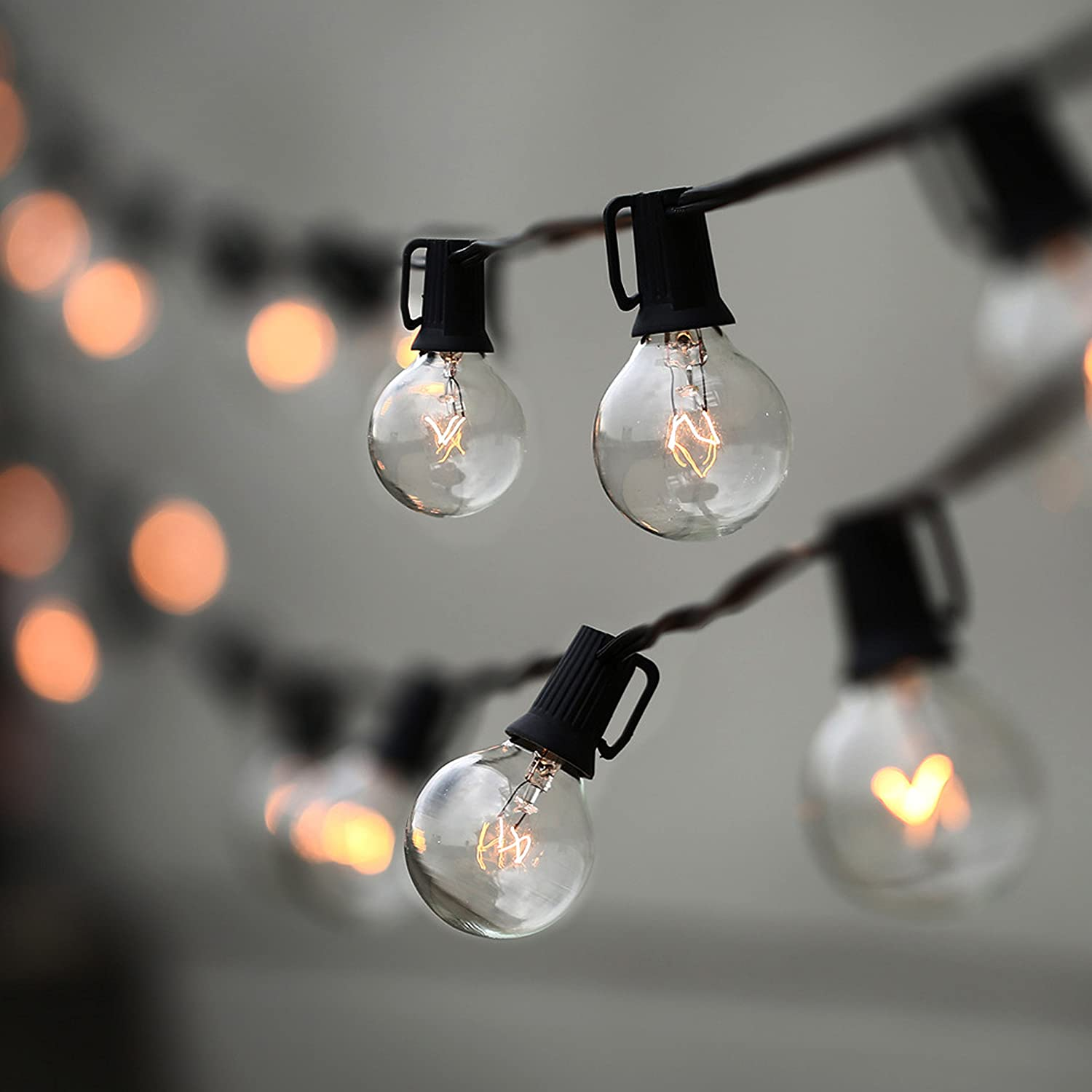 String lights bedroom tiny bulbs electric - Amazon Com Lampat String Lights Vintage Backyard Patio Lights With 25 Clear Globe Bulbs Ul Listed For Indoor Outdoor Use Globe Wedding Light String