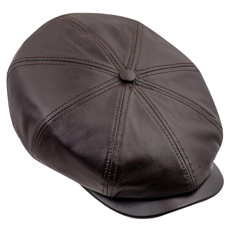Sterkowski Genuine Leather 8 Panel Gatsby Classic Flat Cap