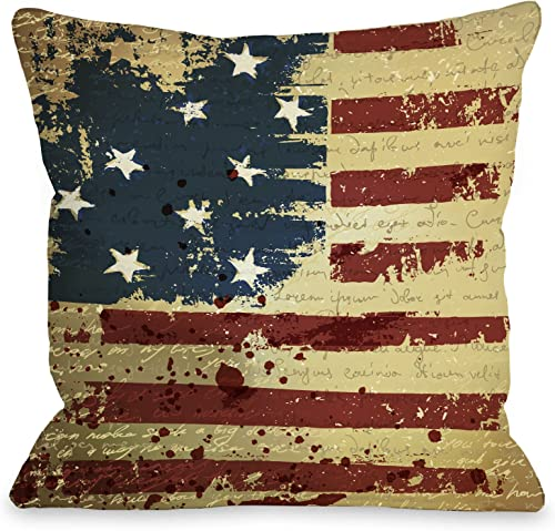 One Bella Casa Vintage American Flag Throw Pillow by OBC, 26 x 26 , Tan Red Blue