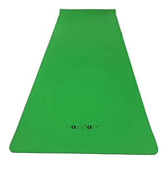 Tpe Yoga Pilates Mat Non Slip 5mm Perfect For Fitness Gym Floor Exercises Abs With Carry Strap