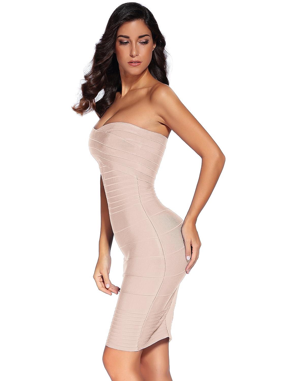 Shownice para mujer para vestidos de Bodycon rayón para despedida de soltera sin tirantes e instrucciones para hacer vestidos venda adhesiva estirar: ...