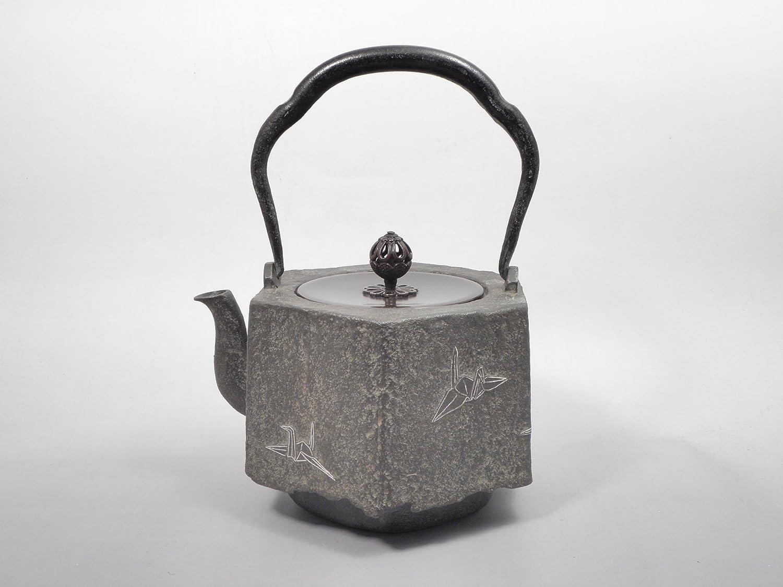 日本製鉄瓶 【蝋型鉄瓶六角形 折鶴銀象嵌 1.3L】 IH対応 日本古董
