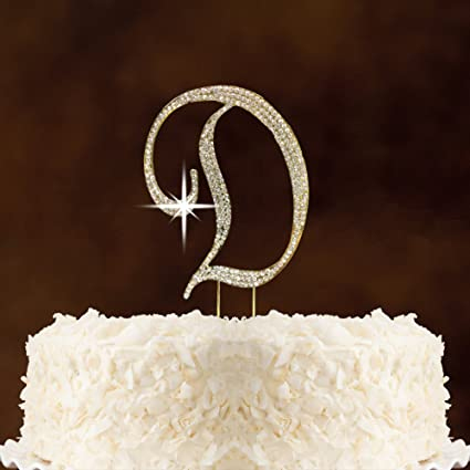 letter d gold rhinestone crystal cake topper for wedding birthday anniversary party