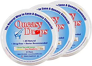 Three Lollies Queasy Drops   Assorted for Nausea Relief  Green Tea with Lemon   Ginger   Banana   Sour Raspberry   Cola  3 Containers   21 Drops Per Container