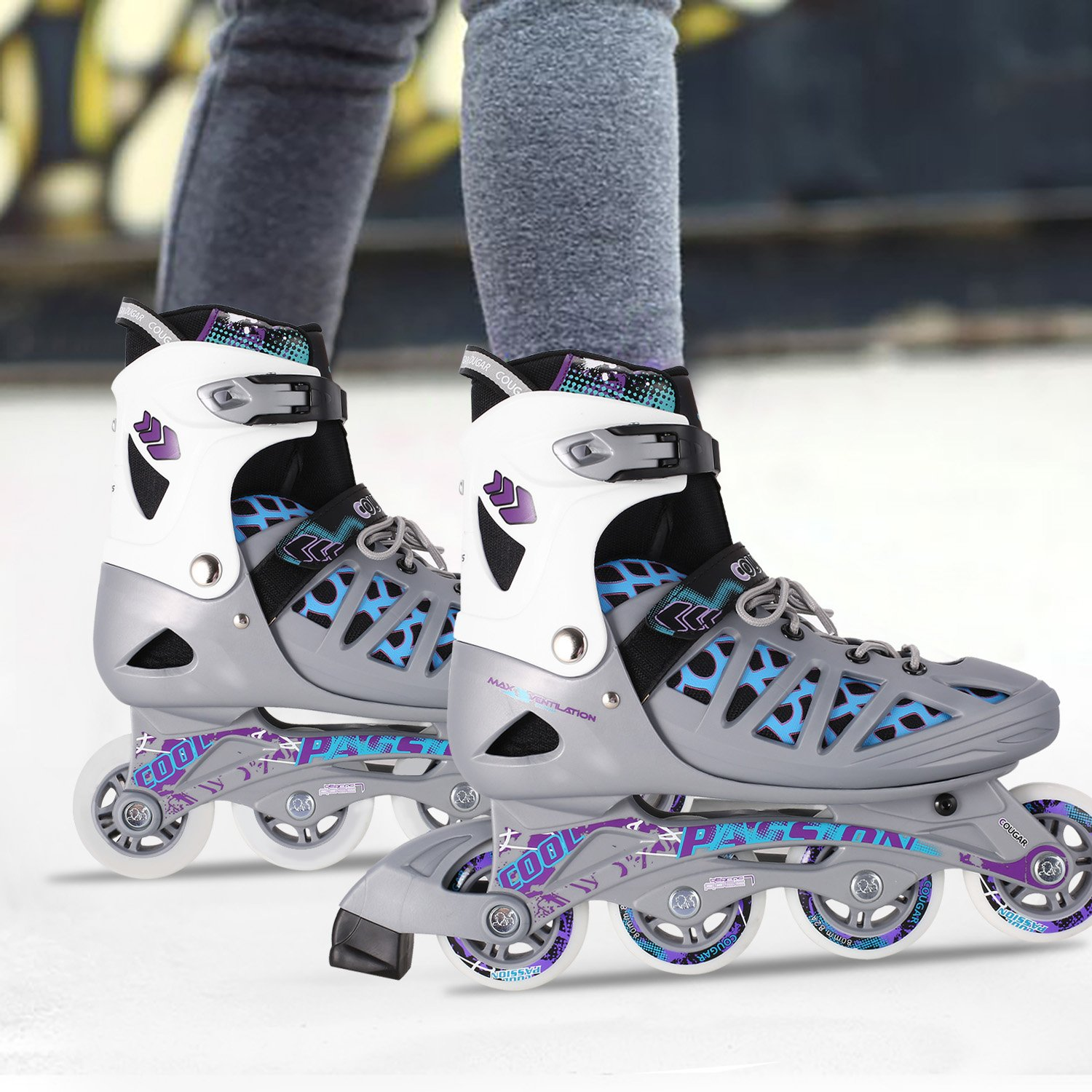 Anfan Adjustable Inline Skates for Adult/Teen, Comfortable Roller Shoes Outdoors, Safe and Durable Training Rollerblades (US STOCK) (Silver, 4-7)