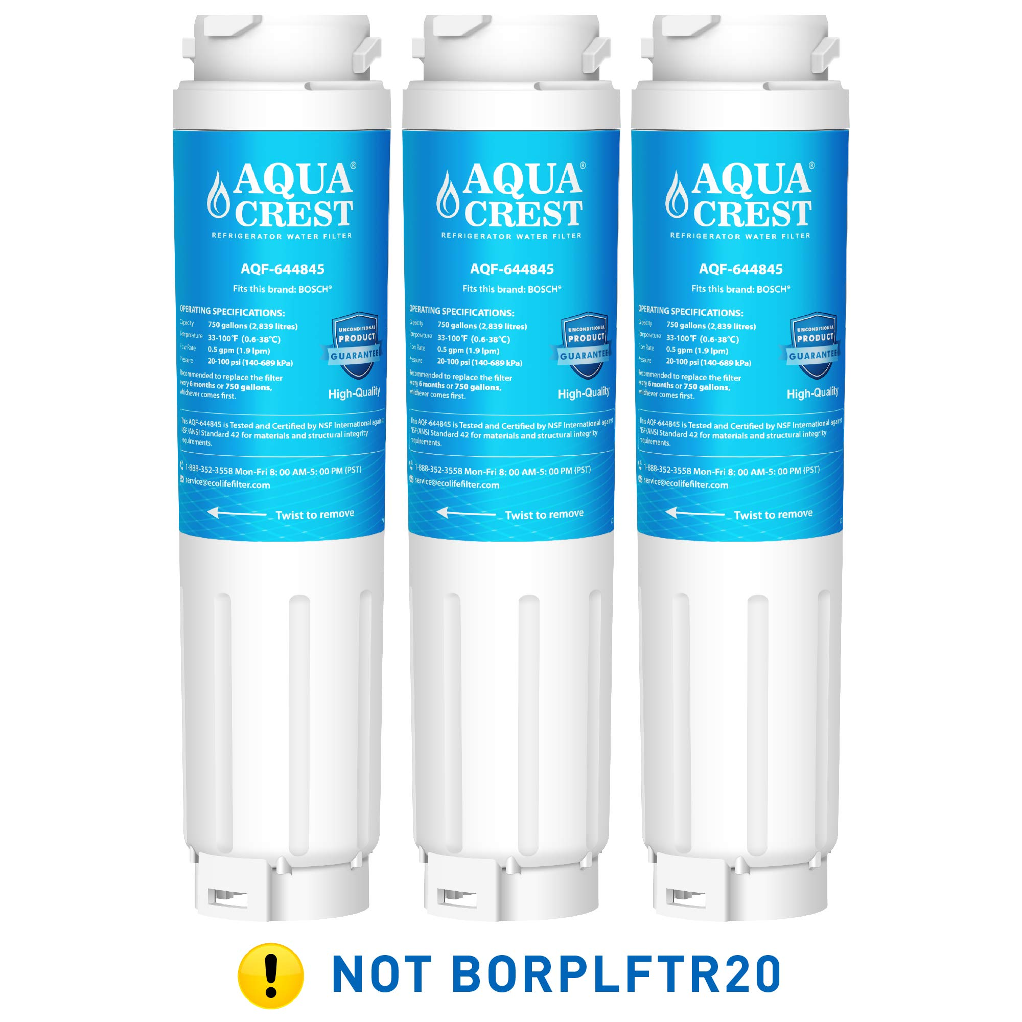 AQUACREST 644845 Refrigerator Water Filter, Compatible with Bosch Ultra Clarity 644845, 9000194412, 9000077104, Miele KWF1000, Haier 0060820860, 0060218743 (Pack of 3) by AQUA CREST