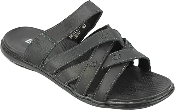 mens leather sandals black