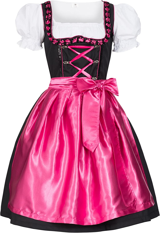 Iwona schwarz mit Sch/ürze Leuchtend pink Dirndl Set 3 TLG Gaudi-Leathers