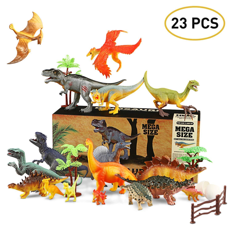 Dinosauro Giocattolo, Realistico Giocattolo del Dinosauro Educativo Edificio di Dinosauro Jurassic Mondo Giocattoli per Bambini - 17pcs Giocattoli Dinosauro + 6pcs Uova di dinosauro e piante artificiali WOSTOO